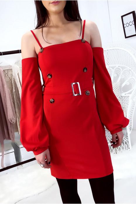Magnifique robe rouge dénudé au buste avec manche bouffante amovible