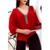 Top rouge épaule dénudé avec strass au col et noeud à la taille