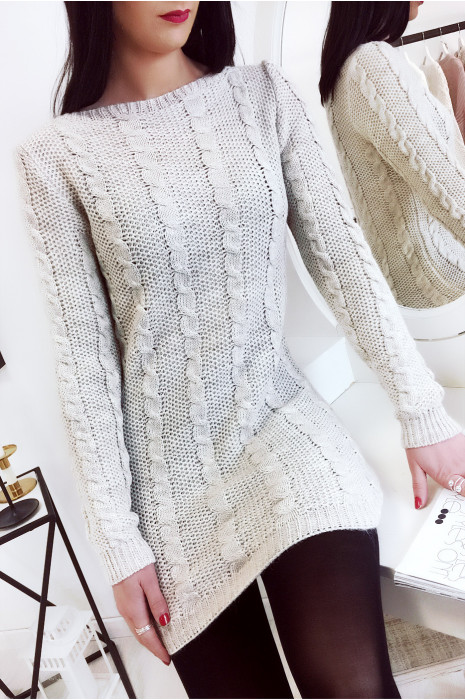 Magnifique pull tunique beige avec fil argenté. Mode femme