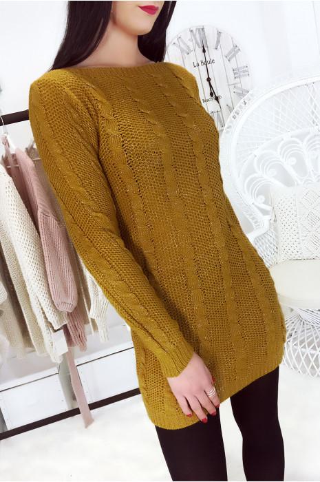 Magnifique pull tunique moutarde avec fil argenté. Mode femme