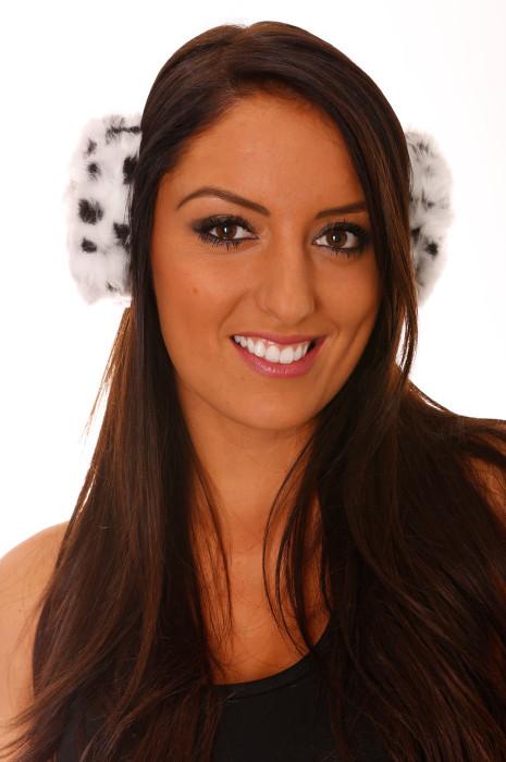 White Leopard Fleece Style Earmuffs.