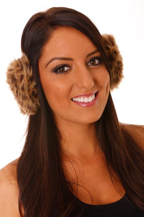 Leopard Camel Fleece-stijl oorkappen.