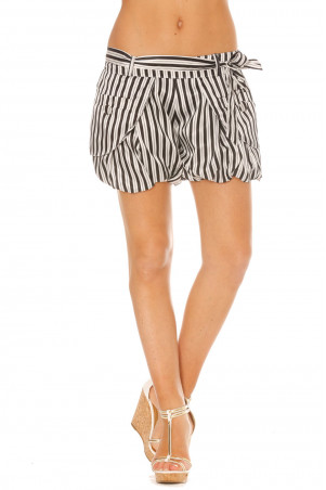 Black and white shorts with puffy stripes in satin material. SM713