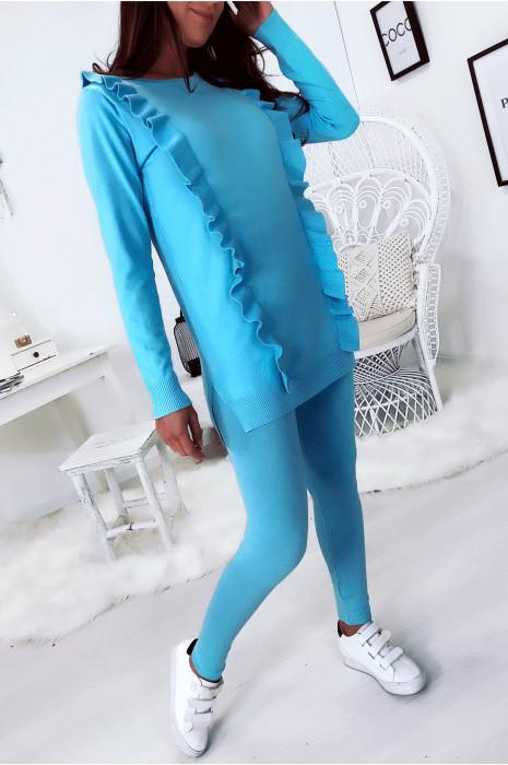 Ensemble tunique à volant et leggings turquoise. Mode femme 105