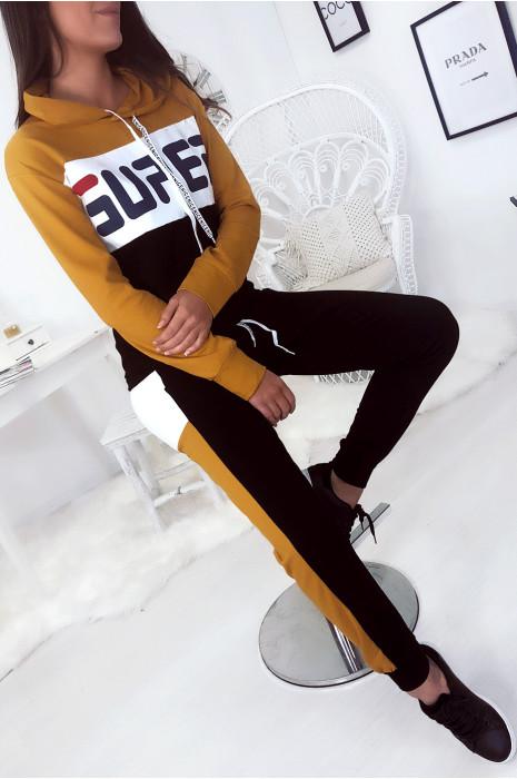 Ensemble jogging sport, moutarde blanc noir à capuche avec écriture SUPER
