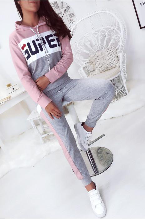 Ensemble jogging sport, rose blanc gris à capuche avec écriture SUPER