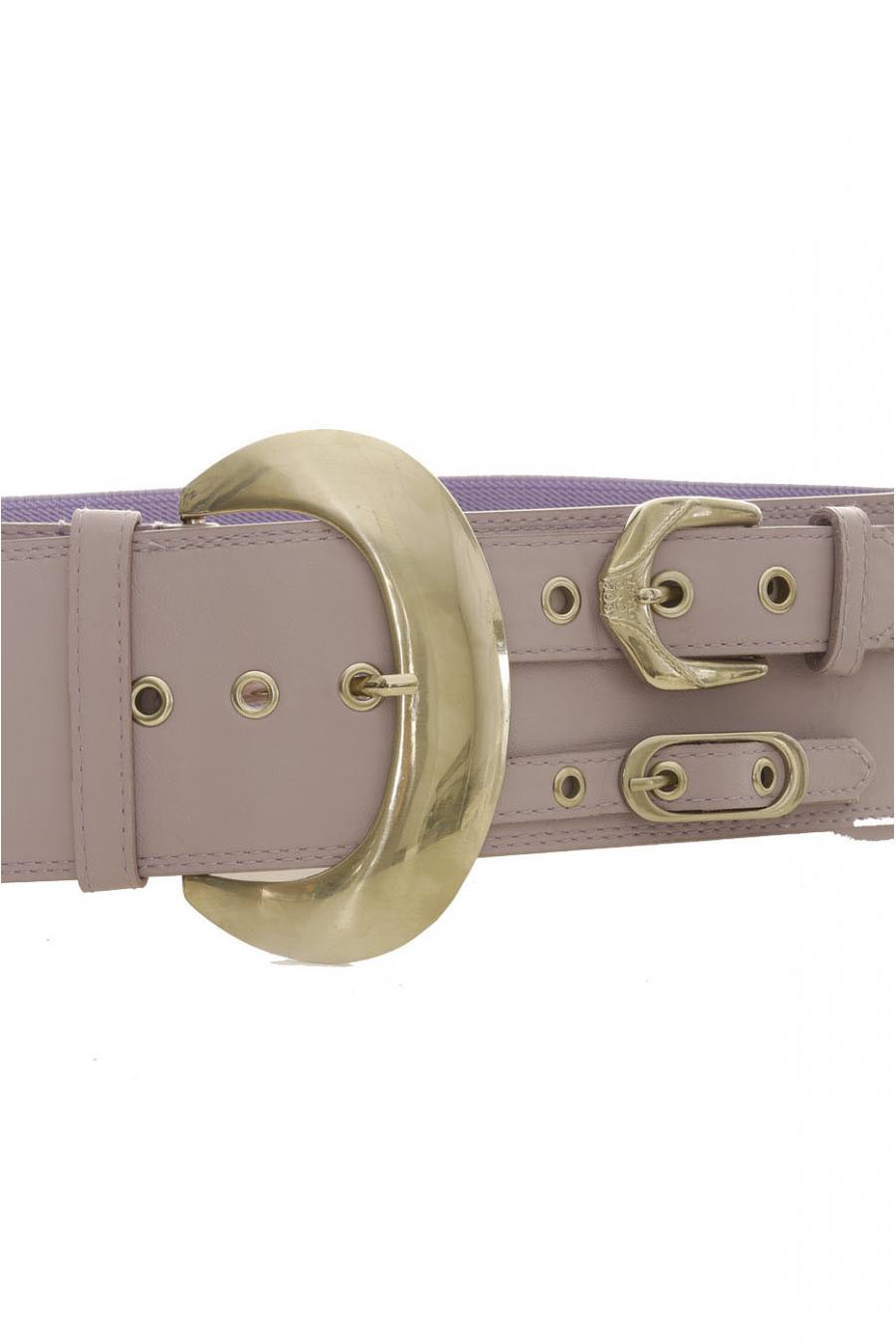 Ceinture élastique Violette avec décoration sur le côté effet double ceinture - SG - 0306