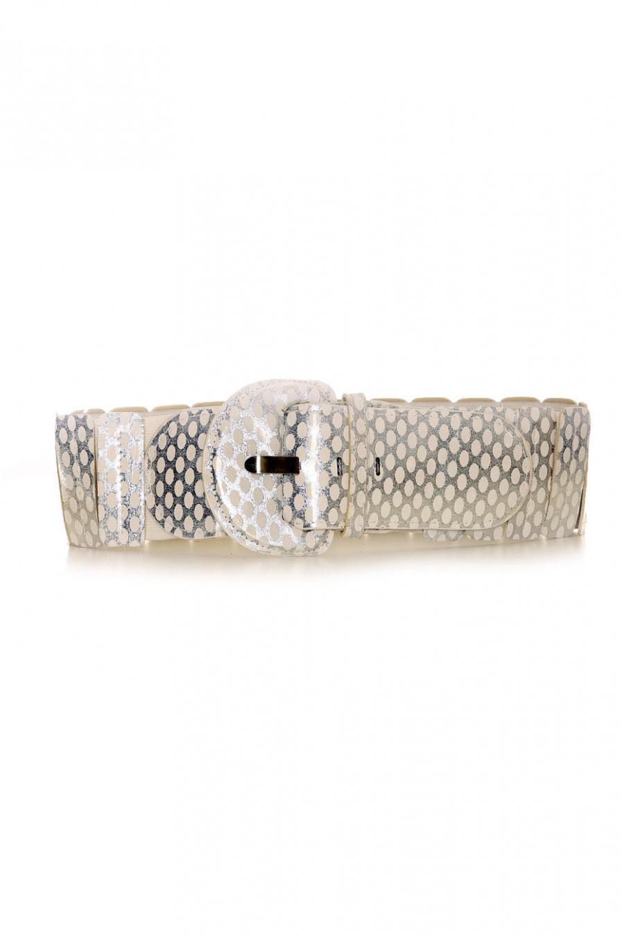 Elastic belt White and silver - BG - P045