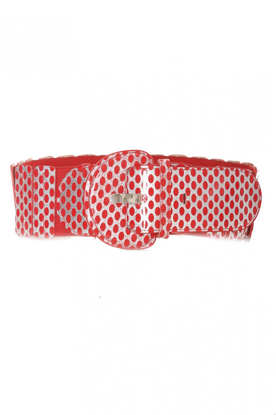 Ceinture élastique rouge avec imprimé - BG - P045