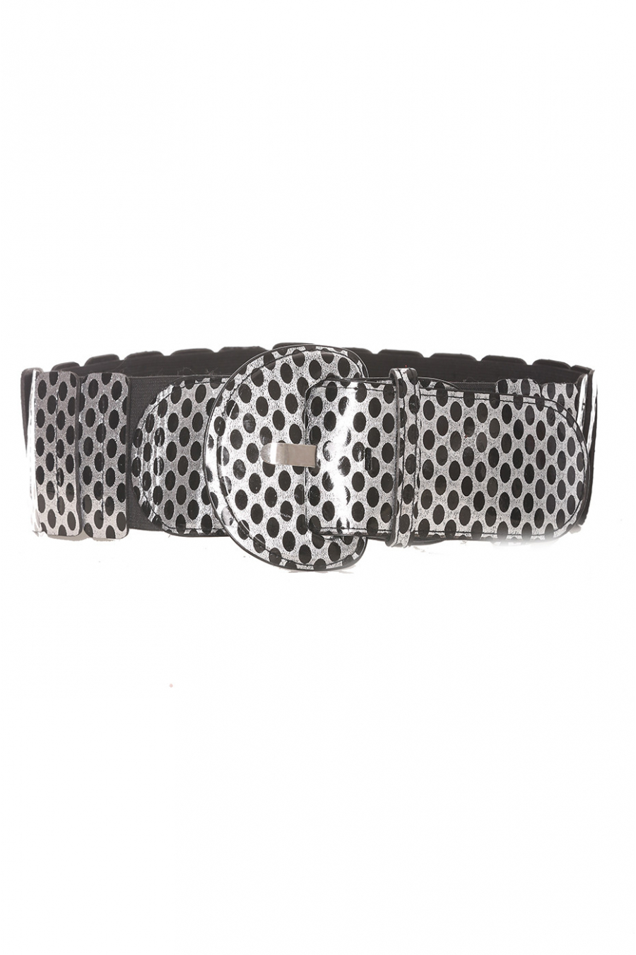 Zwarte elastische tailleband met print - BG - P045