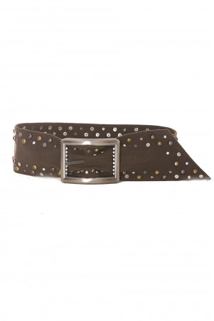 Brown belt with gold and silver studs - SG - 0551