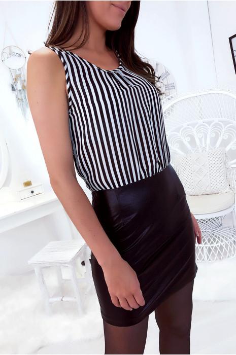 Robe bi-matière Noir et Blanc rayé. Magnifique robe.589