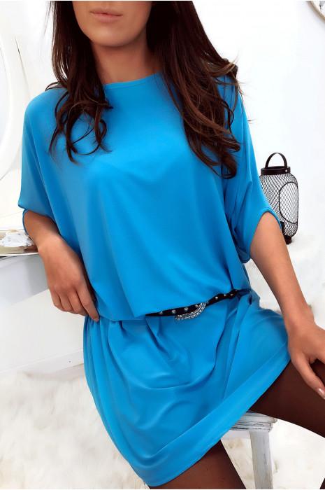 Superbe robe tunique turquoise ultra ample et très tendance vendu sans la ceinture