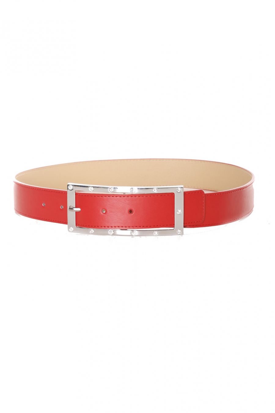Red belt with buckle and rhinestones - 9008