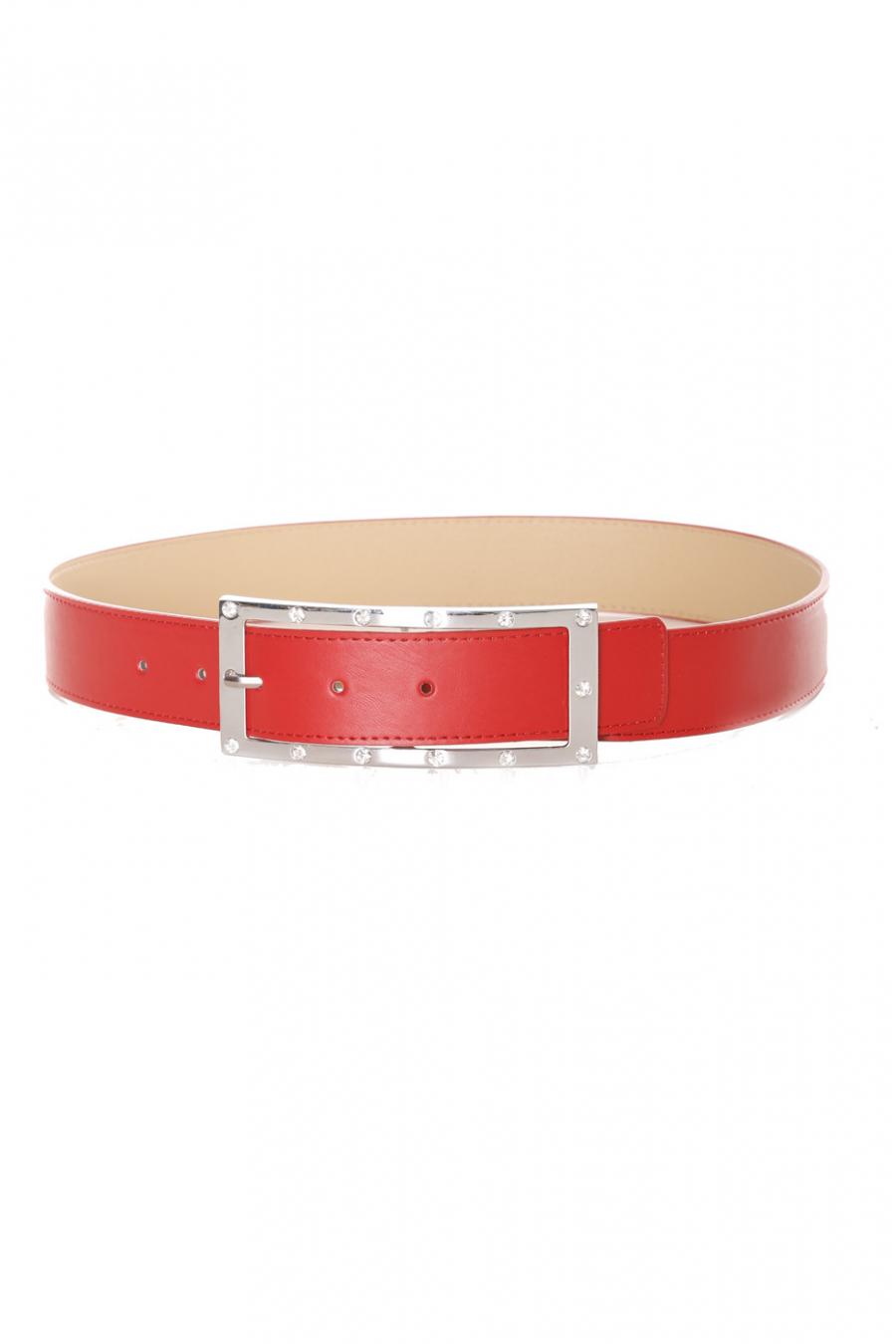 Rode riem met gesp en strass steentjes - 9008