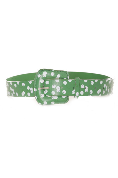 Groene riem met kersenprint - BG-P010