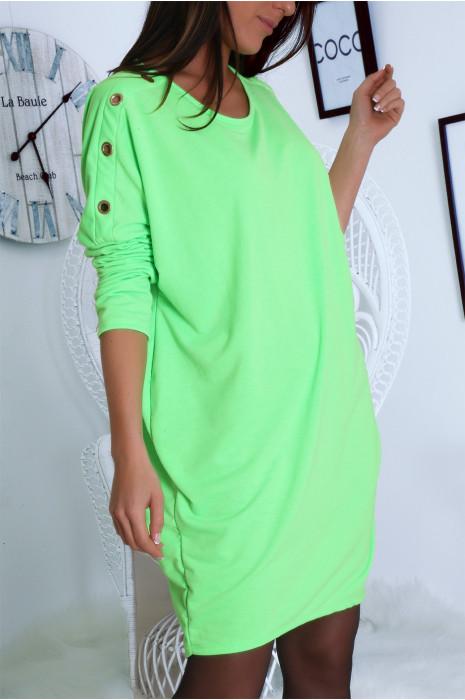 Robe tunique ample en vert avec oeillets aux épaules