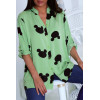 Magnifique chemisier vert avec motif à la mode