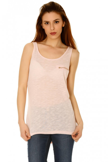 Tank Top with Zipper and Strass Angel Wings on the Back