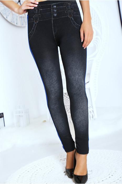 Legging effet jean, legging polaire molletonné  à l'intérieur avec bande Royal.