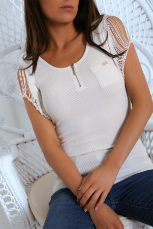 Ribbed ecru top with zip and mesh sleeve. 28821