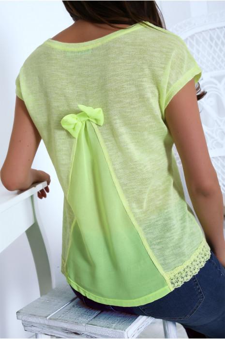 Top jaune fluo avec dentelle à la taille et voile au dos. F2163