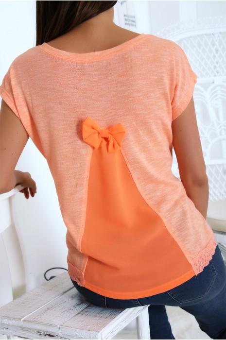 Top orange fluo avec dentelle à la taille et voile au dos. F2163