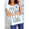 T-shirt met New York City print versierd met parel op de kraag en schouders. G5009