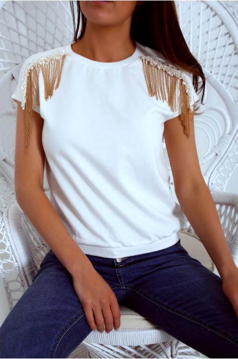 Haut manche court en blanc avec de jolie chainette et de strass aux épaules 18803
