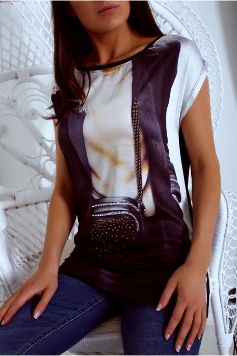 Tee shirt noir fluide et satiné avec impression sac en strass - MC924