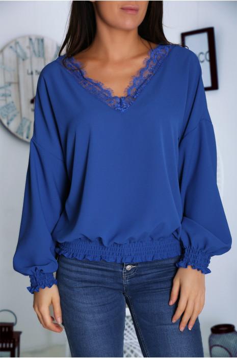 Pretty Royal blouse met V-hals, kant en elastiek in de taille