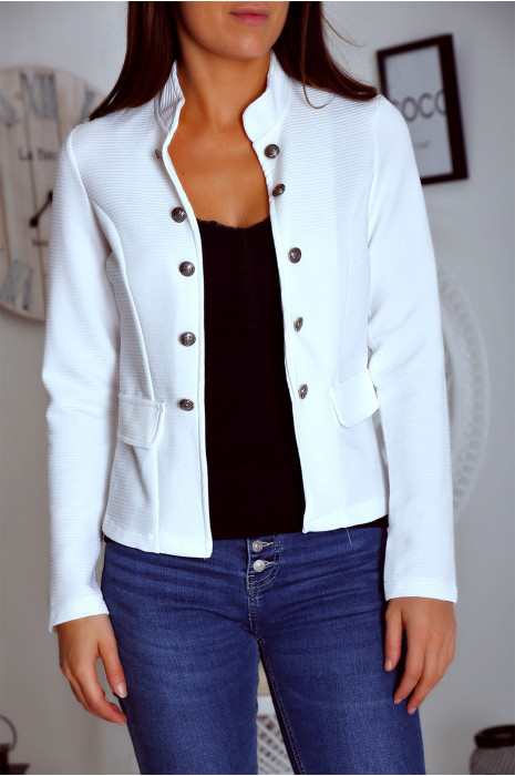 Jolie petite veste boutonné en blanc