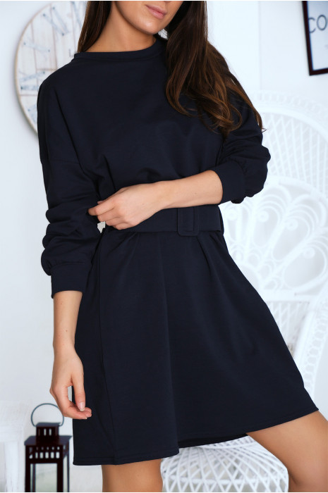 Superbe robe sweat marine avec ceinture. Vêtement femme fashion
