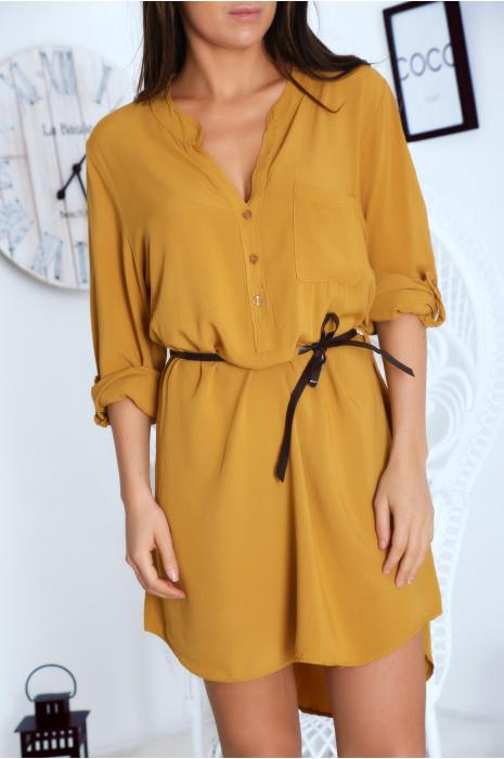 Robe tunique Moutarde avec ceinture et manches retroussables