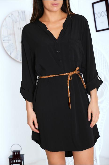Robe tunique Noir avec ceinture et manches retroussables