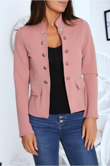 Jolie petite veste boutonné en rose