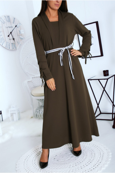 Longue robe kaki vol V à revers avec ceinture Aide