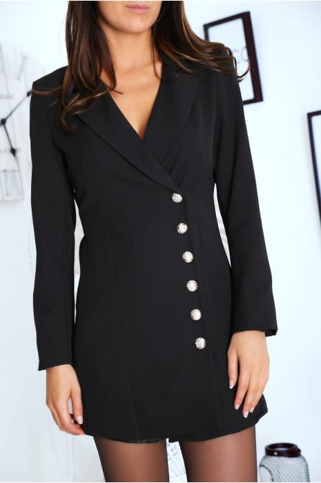 Sublime veste noir croisé devant, boutonnés à l'avant et aux manches. 9003