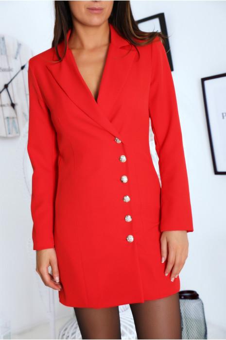 Sublime veste rouge croisé devant, boutonnés à l'avant et aux manches. 9003