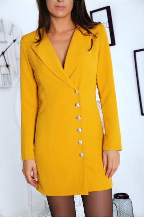 Sublime veste moutarde croisé devant, boutonnés à l'avant et aux manches. 9003