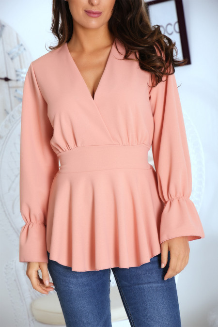 Pretty pink crossover top fitted at the waist with ruffle on the sleeves