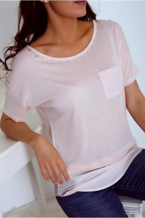 T shirt rose bi matière avec strass et poche