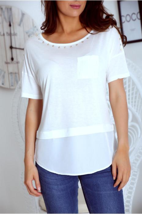 T shirt blanc bi matière avec strass et poche