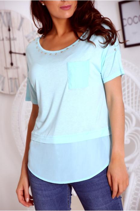 T shirt bleu bi matière avec strass et poche