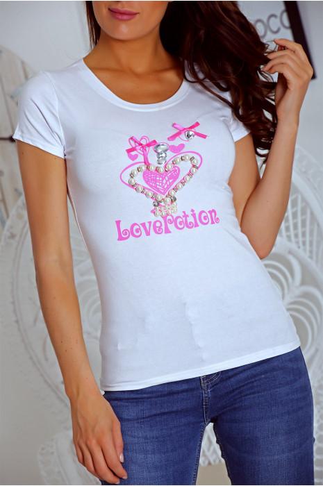 T shirt blanc avec motif coeur orné de strass. Top prix mini