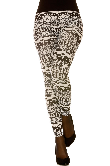 Legging avec imprimés géométriques en noir et blanc