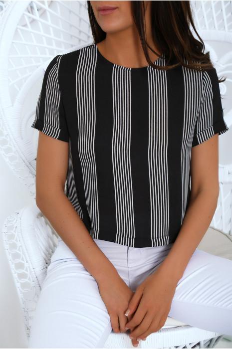 Petite blouse en crêpe rayé noir et blanc. Haut working girl très tendance