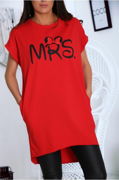 T-shirt rouge en coton avec écriture MRS et poche