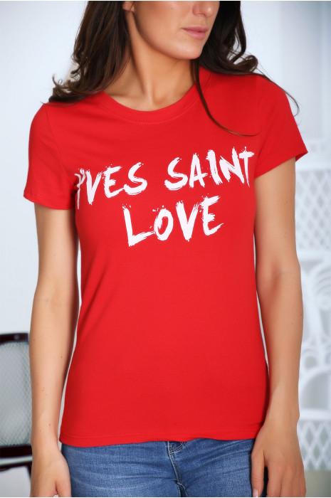 T-shirt rouge en coton, avec écriture Yves saint love