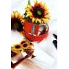 Grosse ceinture orange avec jolie boucle ornée de strass